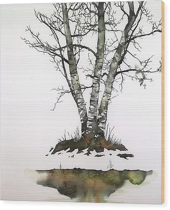Winters Birch Wood Print by Carolyn Doe