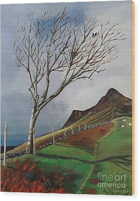 Winter's Day At Yewbarrow -painting Wood Print
