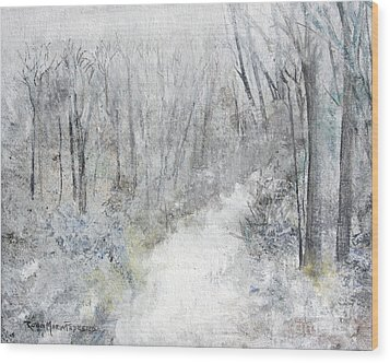 Wood Print featuring the painting Winter's Day by Robin Maria Pedrero