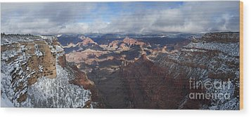Winter's Grasp At The Grand Canyon Wood Print by Sandra Bronstein