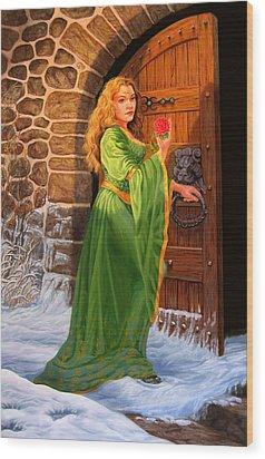 Winter's Last Rose Wood Print by Pat Lewis