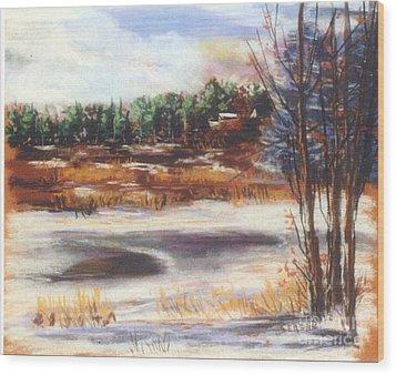 Winter's Light Wood Print by Sandy Sereno