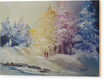 Wood Print featuring the painting Winter's Pride by Helen Harris