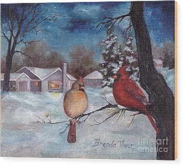 Winters Serenity Wood Print by Brenda Thour