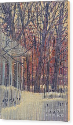 Winter's Snow Wood Print by Donald Maier