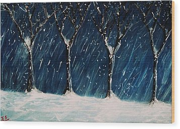 Winter's Snow Wood Print