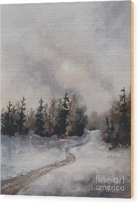 Wood Print featuring the painting Winters Sunset by Brenda Thour
