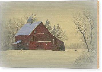 Wintery Barn Wood Print by Julie Lueders