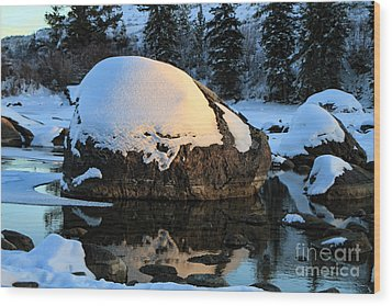 Wood Print featuring the photograph Wintery Rock by Edward R Wisell