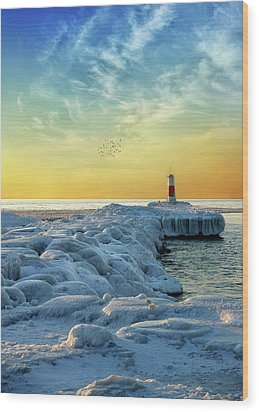 Wintry River Channel Wood Print