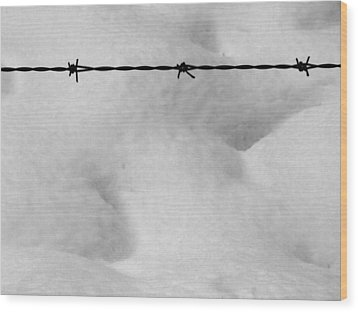 Wood Print featuring the photograph Wire Over Snow by Mark Alan Perry