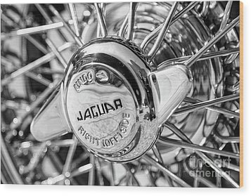 Wood Print featuring the photograph Wire Wheel Black And White by Dennis Hedberg