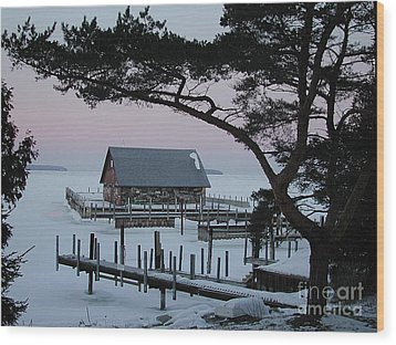 Wisconsin Boathouse Wood Print by Jim Wright