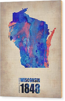Wisconsin Watercolor Map Wood Print by Naxart Studio