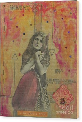 Wood Print featuring the mixed media Wish Upon A Star by Desiree Paquette