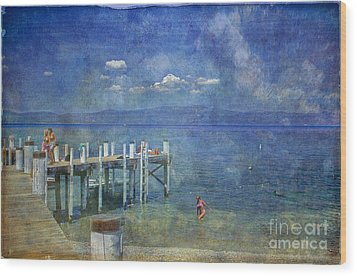 Wood Print featuring the photograph Wish You Were Here Chambers Landing Lake Tahoe Ca by David Zanzinger