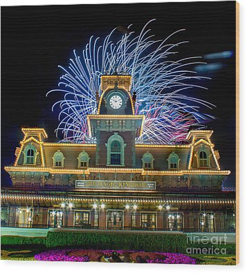 Wishes Over Magic Kingdom Train Station. Wood Print