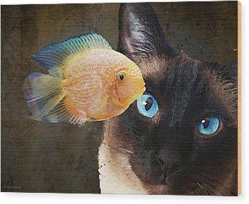 Wishful Thinking 2 - Siamese Cat Art - Sharon Cummings Wood Print