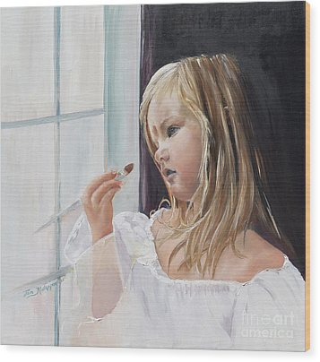 Wood Print featuring the painting Wishful Thinking - Megan - Signed by Jan Dappen