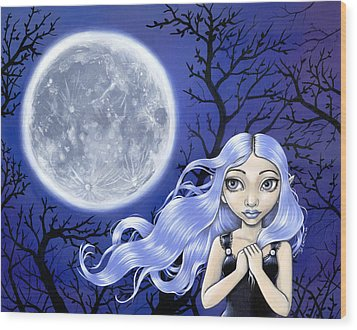 Wishing On The Moon Wood Print by Lindsey Cormier