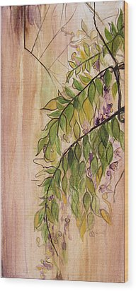 Wisteria  Wood Print by Carrie Jackson