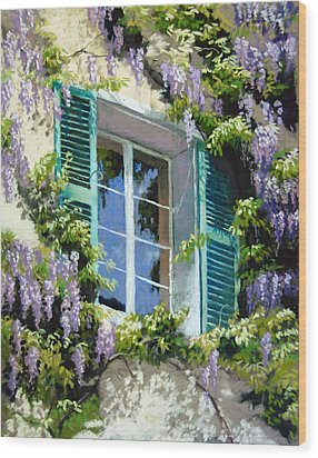 Wisteria In Provence Wood Print by Jeanne Rosier Smith