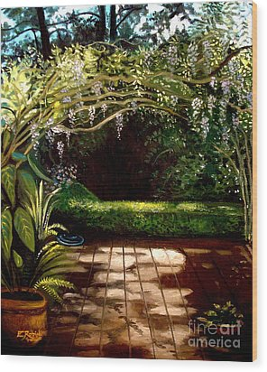 Wood Print featuring the painting Wisteria Shadows by Elizabeth Robinette Tyndall