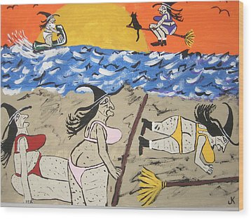 Witches Day At The Beach Wood Print by Jeffrey Koss