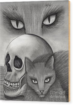 Witch's Cat Eyes Wood Print by Carrie Hawks