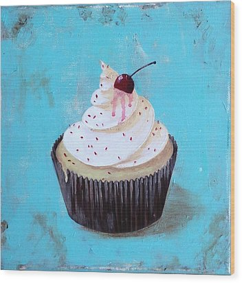 With A Cherry On Top Wood Print by T Fry-Green