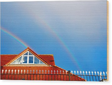With Double Bless Of Rainbow Wood Print by Jenny Rainbow