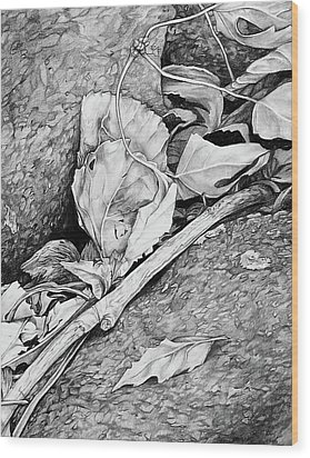 Withered Leaves Wood Print by Aaron Spong