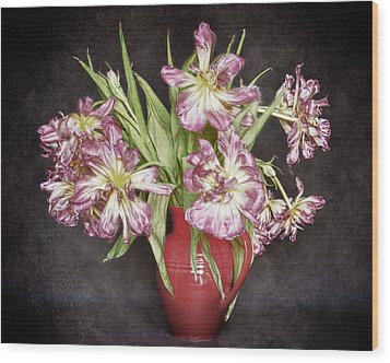 Wood Print featuring the photograph Withered Tulips by Stefan Nielsen