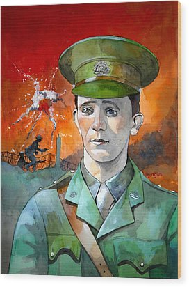 Wood Print featuring the painting W.j. Symons Vc by Ray Agius