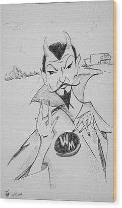 Wm Blue Devils Sign Wood Print by Loretta Nash