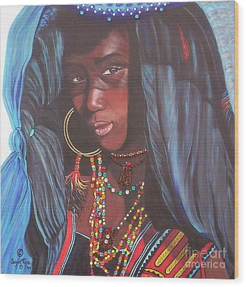 Wood Print featuring the painting Wodaabe Girl by Sigrid Tune