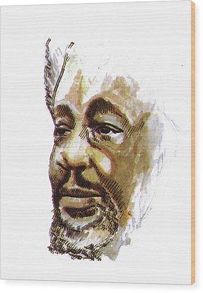 Wole Soyinka Wood Print by Emmanuel Baliyanga