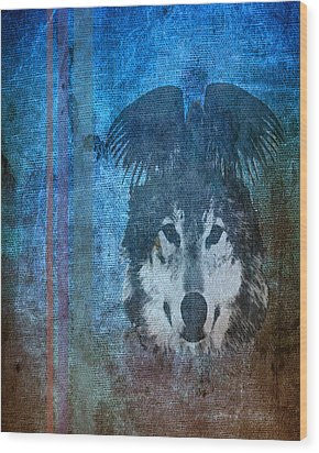 Wolf And Raven Wood Print by Thomas M Pikolin