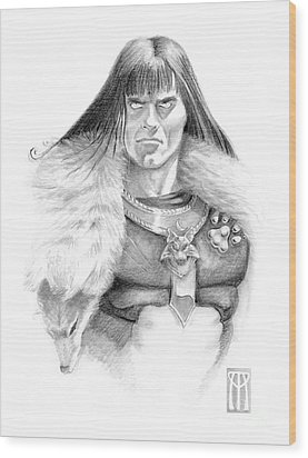 Wolf Barbarian Wood Print by Melissa A Benson