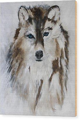 Wolf - Blue Star Wood Print
