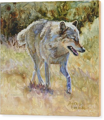 Wood Print featuring the painting Wolf by Bonnie Rinier