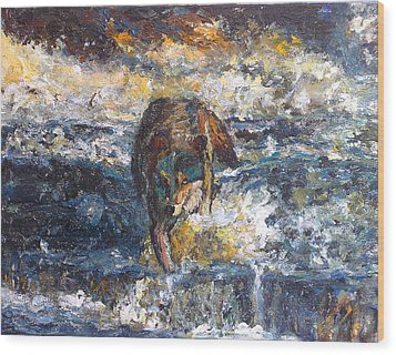 Wood Print featuring the painting Wolf Crossing The River by Koro Arandia