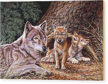 Wolf Den Wood Print by Richard De Wolfe