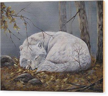 Wolf Dreams Wood Print by Mary McCullah