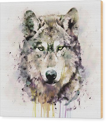 Wolf Head Wood Print by Marian Voicu
