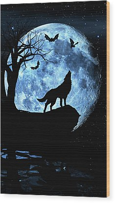 Wolf Howling At Full Moon With Bats Wood Print by Justin Kelefas