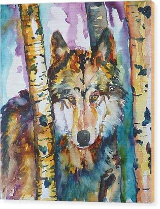 Wolf In Aspen Wood Print