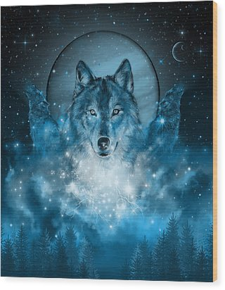 Wolf In Blue Wood Print