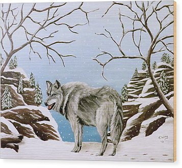 Wood Print featuring the painting Wolf In Winter by Teresa Wing