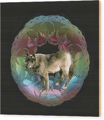 Wolf Wood Print by Julie Grace